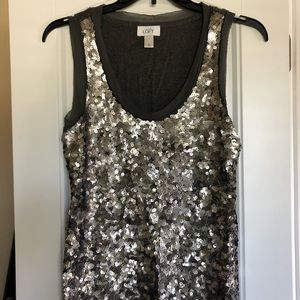 Silver sequined tank top - so sparkly! Size L.
